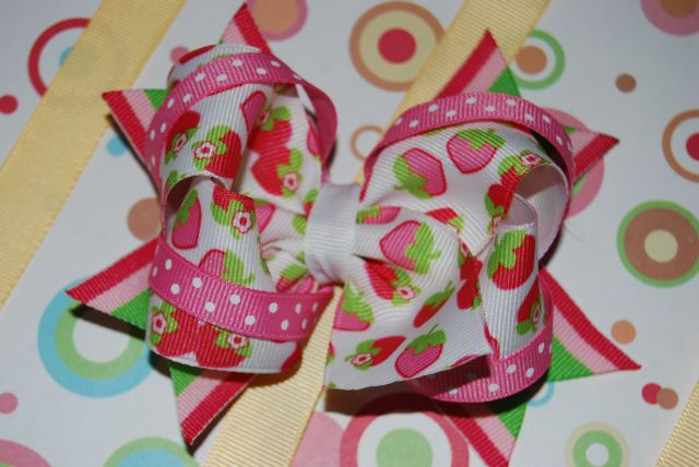 Pink Triple Layer Strawberry Bow - Click Image to Close